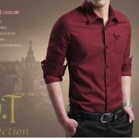 [miller maroon xl] pakaian pria kemeja slom fit warna maroon ukuran xl