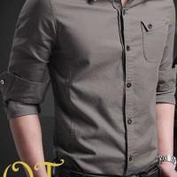 [miller dark grey xl] pakaian pria kemeja slim fit warna abu ukuran xl