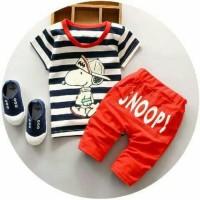 Baju Setelan anak laki laki Setelan Salur Snoopy Kid Black