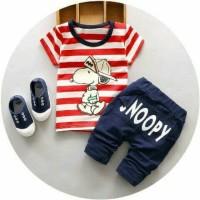 Baju Setelan anak laki laki Setelan Salur Snoopy Kid Red