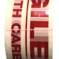 Fragile Handle With Care Tape white Lakban Peringatan Panjang 100M