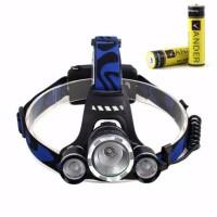 Headlamp 3 mata cas T6 LED - senter 3 lampu charge batere dan charger