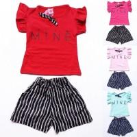 Baju Setelan Anak Bayi Perempuan Kaos Mine Celana Katun Garis