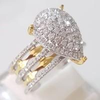 Cincin Emas Berlian Eropa Asli 100% Natural Diamond Wanita Fashion