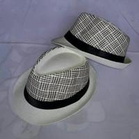Topi fashion - topi distro murah - topi fedora motif list variasi (TPP 12ed453788