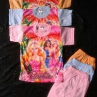 baju setelan gambar barbie size 2 tahun