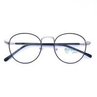 Jual Frame Kacamata Korea Pria Wanita OPPA OP02 BLSV Hitam Bulat Fashion Murah