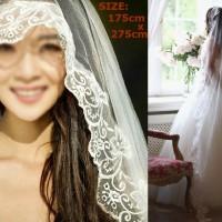 Veil Oval wedding dress gaun pengantin slayer kerudung ekor nikah baru