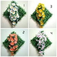 hiasan dinding hiasan resto cafe taman bunga gantung bingkai rumput