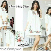 dress ethnic flowy h || mini dress bordir || pakaian wanita