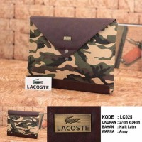 (LACOSTE) CLUTCH BAG UNISEX KULIT IMPORT MOTIF ARMY