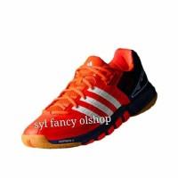 Sepatu adidas quickforce 7 Orange Navy Badminton Bulutangkis Shoes Ori