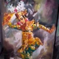 Lukisan Penari Legong 60x80 Palet Khas Bali (Tari Legong Timbul)