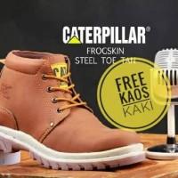 Jual Sepatu Caterpillar Boots Safety Proyek Progskin Ujung Besi [TAN] Murah