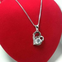 harga Perhiasan Kalung + Liontin Perak Silver 925 Lapis Emas Putih Original Tokopedia.com