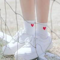 S37 White love kawaii japan cute Tumblr sock kaos kaki impor