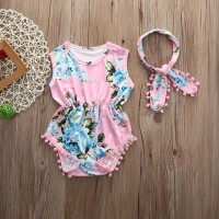 Jual Set Jumpsuit Bayi Newborn Infant Baby Girls Floral Sleeveless Bodysuit Murah
