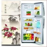 Sticker for Refrigerator Kulkas 2pintu Motif Tempat Wisata uk 60x150cm