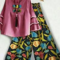 Setelan Blouse Wanita dan Celana Kulot Batik size XL Kumala O1