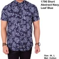 Jual kemeja lengan pendek batik songket navy / baju pria batik pendek slim Murah