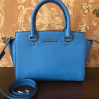 JUAL TAS MICHAEL KORS SELMA MEDIUM SATCHEL HERRITAGE BLUE ORIGINAL