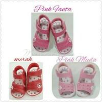Sepatu sandal bayi perempuan babykiddies babypink sol karet bunyi