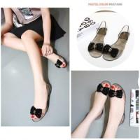 harga Sandal Cantik Motif Pita Black Gold White Modis New Fashion Impor Tokopedia.com
