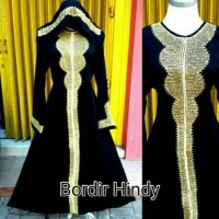 abaya arab/ gamis / busana muslim / bordir plus pasmina