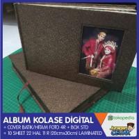 Cetak Album Kolase 11R 20x30 Cover Batik/Hitam + Foto 4R FREE BOX