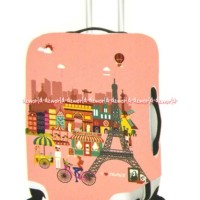 Passport Luggage Cover Sarung Koper Motif Paris Pink Size S Uk 18-22In