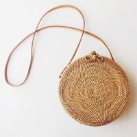 Jual Tas Anyaman Rotan Bali Bulat Handwoven Round Rattan Bag Murah