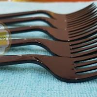 Garpu Makan Plastik Premium - Bening/Hitam (isi 100pcs)