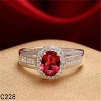 harga Cincin Lapis Perak Silver 925 Batu Red Ruby C228 Tokopedia.com