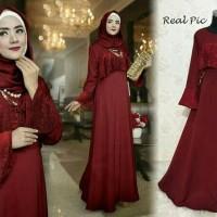 056461 Inara Gamis Pesta Maroon / Baju muslim / Hijab / Maxi / Dress