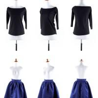 S167 Baju setelan atasan katun rib hitam rok KODE YT167