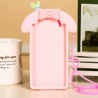 CASING CASE HP OPPO F3 A77 3D MY MELODY BOW NECK STRAP SILIKON
