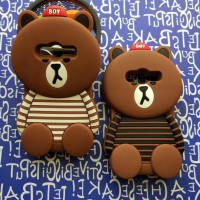 CASING CASE HP SAMSUNG GALAXY V ACE 4 G313 3D CUTE SILIKON LINE BROWN