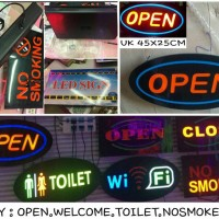 SIGN BOARD open , welcome , toilet , no smoking , wifi