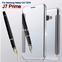CASING MIRROR FLIP COVER CASE AUTOLOCK SAMSUNG J7 PRIME/ ON7 BACK