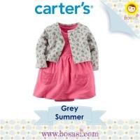 Set Dress Romper Cardigan Anak - Carter Motif Grey Summer