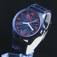 jam tangan puma leather pria / jtr 929 hitam