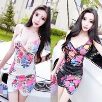 JES-PS0303 mini dress bodycon sexy import korea-baju gaun seksi wanita