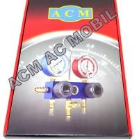 Meteran Manifold ACM Alat isi Freon Refrigerant AC Mobil/Rumah Komplit