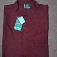 Kemeja Hem Baju Pria Casual Formal Modern Cole Merah Marun Maron M
