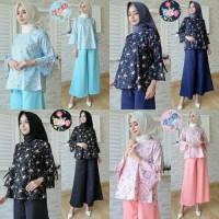 Jual Baju Atasan Tunik Celana Kulot Wanita Muslim High Quality - Flower Set Murah