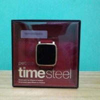 Pebble Time Steel Watch Square Red Gold Smartwatch