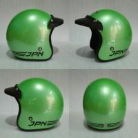 Helm Retro JPN ARC hijau glossy + pet topi