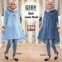 Baju jeans wanita / Hijab casual/ atasan busui murah : Geby Long tunik