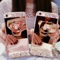 CASE CASING HP VIVO V5 PLUS V5+ SOFT TPU DIAMON MIRROR CUTE RING STAND