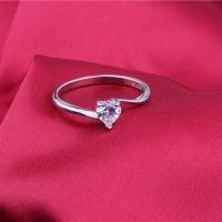 Cincin Silver Lapis Emas Putih Batu Berlian Hati Love Kecil - BR175